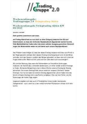 Börsenbrief TradingGruppe 2.0