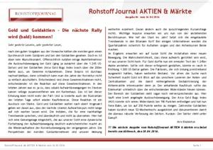 Börsenbrief RohstoffJournal AKTIEN&Märkte